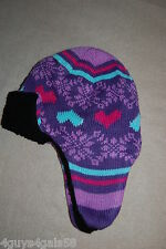 61817551181 Toddler Girls Knit Winter Hat PURPLE AQUA Sherpa Lined HEARTS SNOWFLAKES