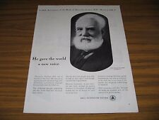 1947 Print Ad Bell Telephone System Alexander Graham Bell in 1918