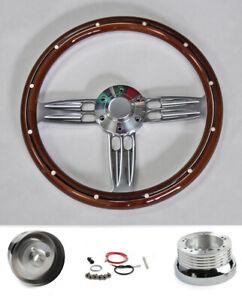 """1965-69 Mercury Comet Cyclone Cougar 14"""" Mahogany Steering Wheel Double Barrel"""