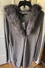 White House Black Market Long Gray Faux Fur Collar Women's Sweater  S NWT