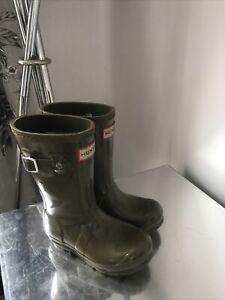 Hunter Wellington Boots Khaki Green Infant Size 9  U.K. Good Condition