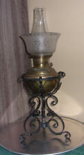 Vintage Rare Plume & Atwood Wrought Royal Oil Kerosene Lamp + Glass Globe.