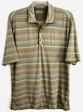 Nike Golf Dri Fit Mens Brown Striped Short Sleeve Adult Polo Shirt Size Medium