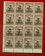 LATVIA LETTLAND 1920-21 BLOCK OF 16 STAMPS Sc.87 MNH 799