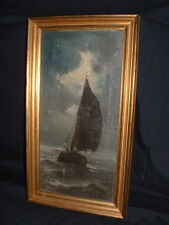 BEAUTIFULL ANTIQUE OLD MASTER OIL PAINTING OF SAILOR IN BOAT SIGNED H. MANN