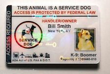 HOLOGRAM SERVICE DOG / PET ID CARD BADGE  FOR SERVICE ANIMAL PROFESSIONAL TAG 10