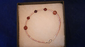 Beautiful Bracelet W. Amethyst Color beads And Pearls 7.5 Inc.Long In Gift Box