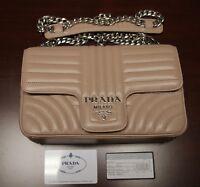 BRAND NEW PRADA Beige Medium Diagramme Leather Shoulder Bag, 1BD108, MSRP:$2100