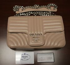 BRAND NEW PRADA Beige Medium Diagramme Leather Shoulder Bag, 1BD108, MSRP:$2100