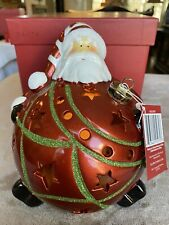 QVC Home Reflections Santa Christmas Luminary w/ Flameless Candle & Timer
