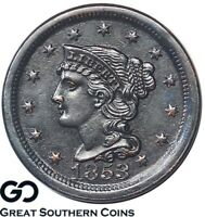 1853 Large Cent, Braided Hair, Super Sharp Strike Definition ** Free Shipping!