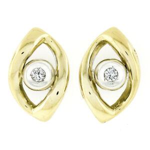 Unique 18k TT Gold Eye Polished Stud Earrings w 08ct Round Diamond Open Center