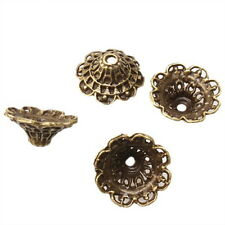 50x New Arrivals Alloy Antique Bronze Flower Beads End Caps Findings 18mm LG