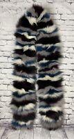 Jocelyn Multicolor Striped Fox Fur Scarf One Size