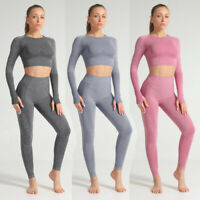 Women Seamless Yoga Suit Crop Tops+Pants Leggings Sports Set Fitness Stretch Gym