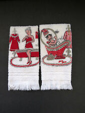 Vintage Mr and Mrs Hand Towels by Dundee - Terry Cloth Bathroom Towels Novelty