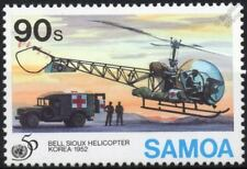 United Nations (UN) BELL SIOUX Helicopter Aircraft Stamp (1995 Samoa)