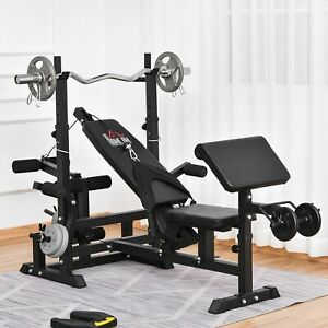 Multi-Position Olympic Home Gym Weight & Bar Rack w/ Chest Fly & Preacher Curls