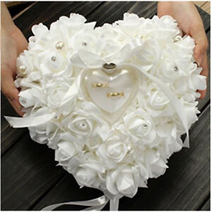 White Wedding Accessory Ring Pillow Box Heart Shape Double Rose Romantic Flowers