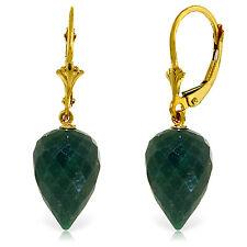 25.7 Carat 14K Solid Gold Drop Briolette Emerald Earrings