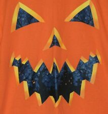 Pumpkin Face Halloween Mens Size L Large Orange Holiday Crewneck T Shirt