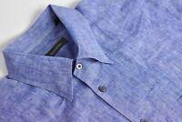 Ermenegildo Zegna Blue 100% Linen Button Down Collar Dress Shirt Size: 17/36.5