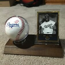 New Dodgers Jackie Robinson Logo Ball and Card Display With Wood Base