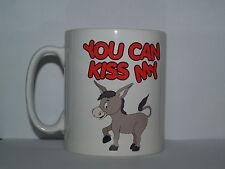 YOU CAN KISS MY 'ASS' Funny/Novelty/Rude Cartoon Donkey Printed Tea/Coffee Mug