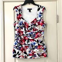 White House Black Market Red Blue Floral Dress Ruffle Tank Top Sz XL