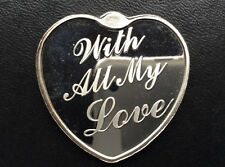 With All My Love Heart Shaped Silver Art Medal P2653