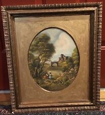 Antique Original Oil Painting Van Thoren signed, Continental Landscape Ladies by