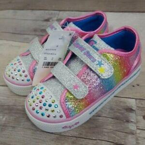 S Sport by Skechers Toddler Girls 6, 8 Crystal Stars Skyla Light Up Sneakers
