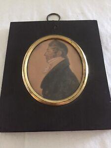 Regency Profile Portrait En Grisaille Of A William Adams, Original Period Frame