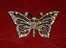 Vintage Crystal Filigree Butterfly Brooch - Pin... Antiqued Silver-tone Setting