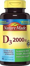 Nature Made Vitamin D3 2000 I.U Liquid Softgels 90 CT Bone, Teeth, Muscle Health