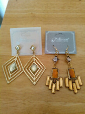 costume jewelry earrings by Princess Accessories set of 2 pair goldtone dangle