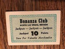 Don French's Bonanza Club 10 Point Jackpot Card North Las Vegas Nevada