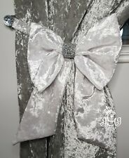 White Silver Pink Glitter  Bow Curtain Tie Backs Pair Black Gold