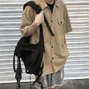 Mens Khaki Lapel Collar Short Sleeve Shirt Gothic Cotton Streetwear Casual Chino
