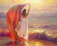 ZWPT200 fancy modern art 100% handpainted girl in seaside oil painting on canvas