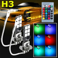 2x H3 5050 RGBW LED 12SMD Car Headlight Fog Light Lamp Bulb + Remote Control 12V