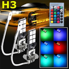 2x H3 5050 RGBW LED 12SMD Car Headlight Fog Light Lamp Bulb + Remote Control 12V