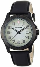 WENGER  Swiiss Army ALPINE  DATE SAPPHIRE BLACK LEATHER  MENS WATCH 70474 NEW