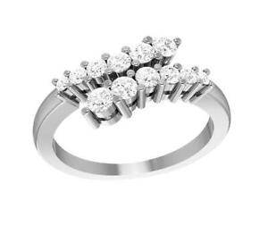 Anniversary Ring VS1 E 0.55 Ct Real Round Diamond 14K Solid Gold Appraisal
