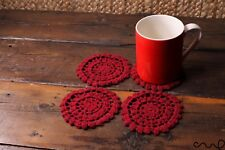 NEW Set of 4 Handmade Crochet Round Coasters Wine Red Vintage Style Doily