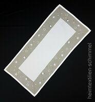 STICKEREI Tischdeckchen Tischläufer WEIHNACHTEN Tischdecke Deckchen grau 35x70cm