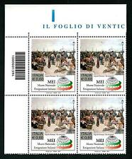 Italia Repubblica 2011: Emigrazione Italiana / MEI - quartina con codice a barre