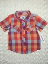 Old Navy Fall Plaid Short Sleeve Button Front Top Shirt Sz 18-24 Months NWT