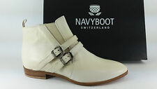 E16-NAY SCARPE DONNA 36 STIVALETTI NAVYBOOT BIANCO MADE IN ITALY 100% PELLE