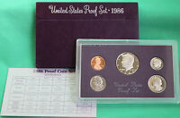 1986 S United States Mint Annual 5 Coin Proof Set Original Box and COA Complete